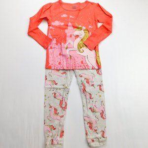 Carter's Girls 3T Pink Gold Unicorn Pjs Pajamas